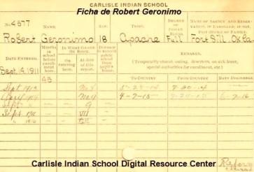 Ficha en Carlisle de Robert Geronimo